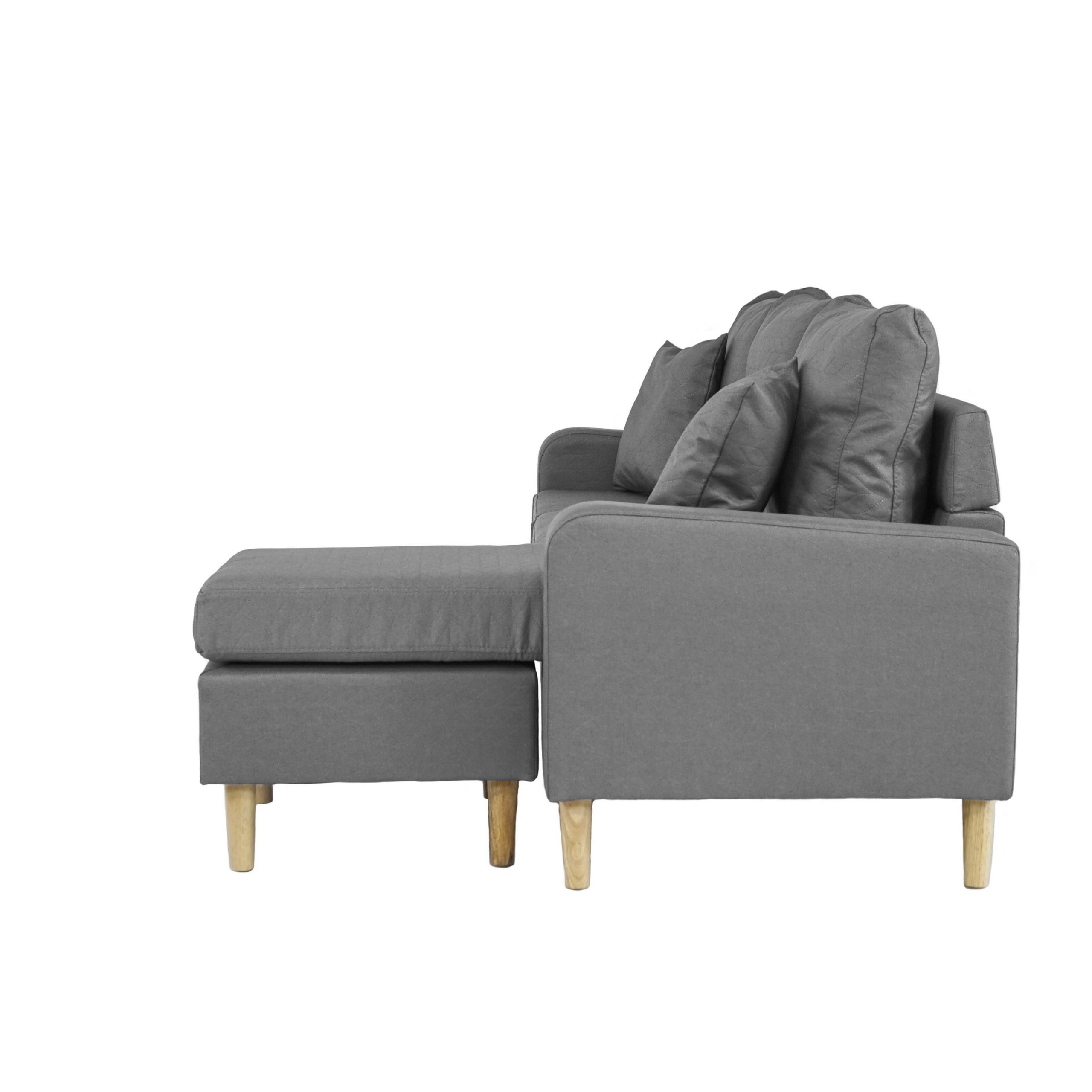 Dulce Mid Century Chaise Sofas Light Gray With Newest Grey Small Space Configurable L Shape Couch Sectional Sofa (View 20 of 20)