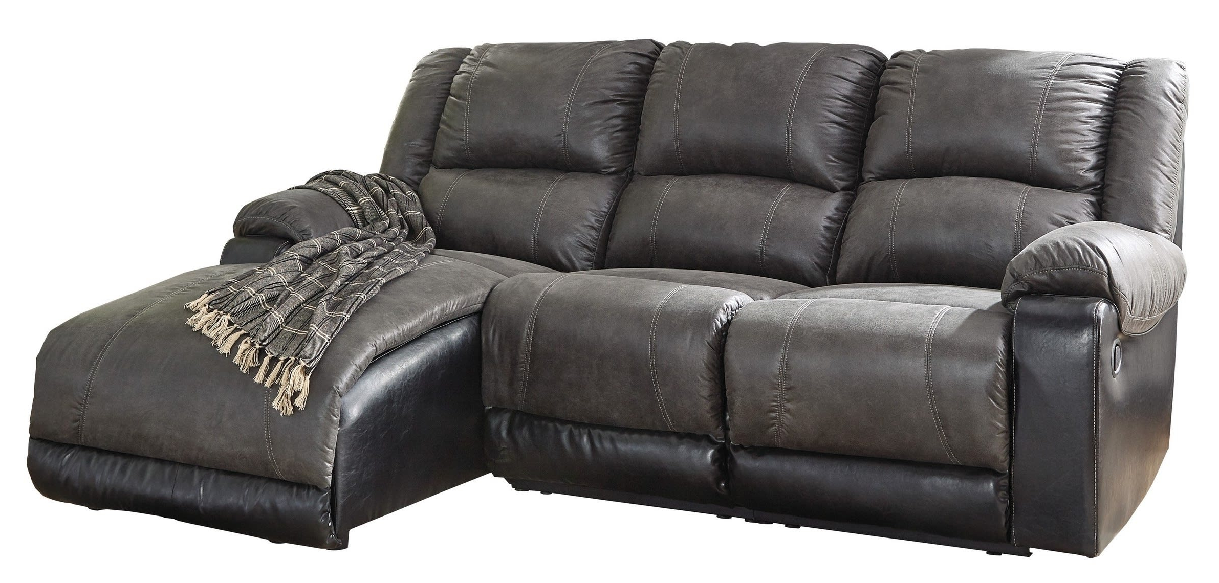 Dulce Right Sectional Sofas Twill Stone For Well Known Signature Designashley Nantahala Slate 3 Piece Right (View 15 of 20)