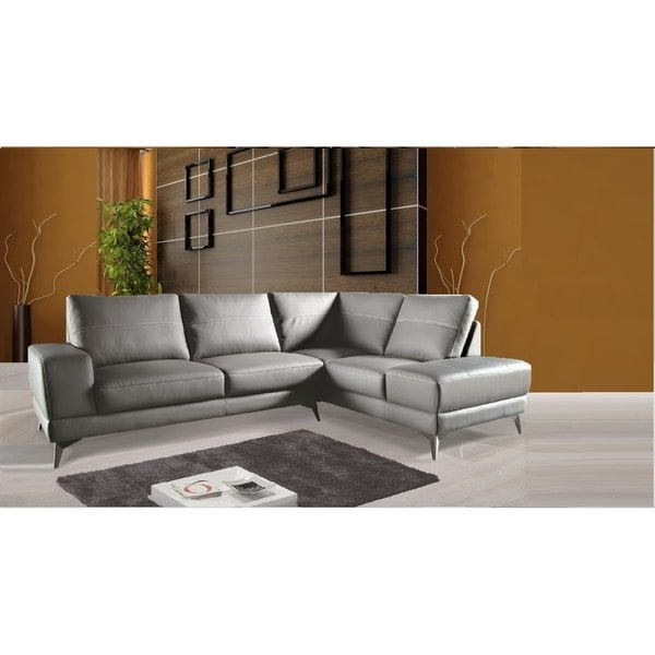 Dulce Right Sectional Sofas Twill Stone In Preferred Shop Zoe Sectional Top Grain Leather Sofa Facing Left (View 10 of 20)