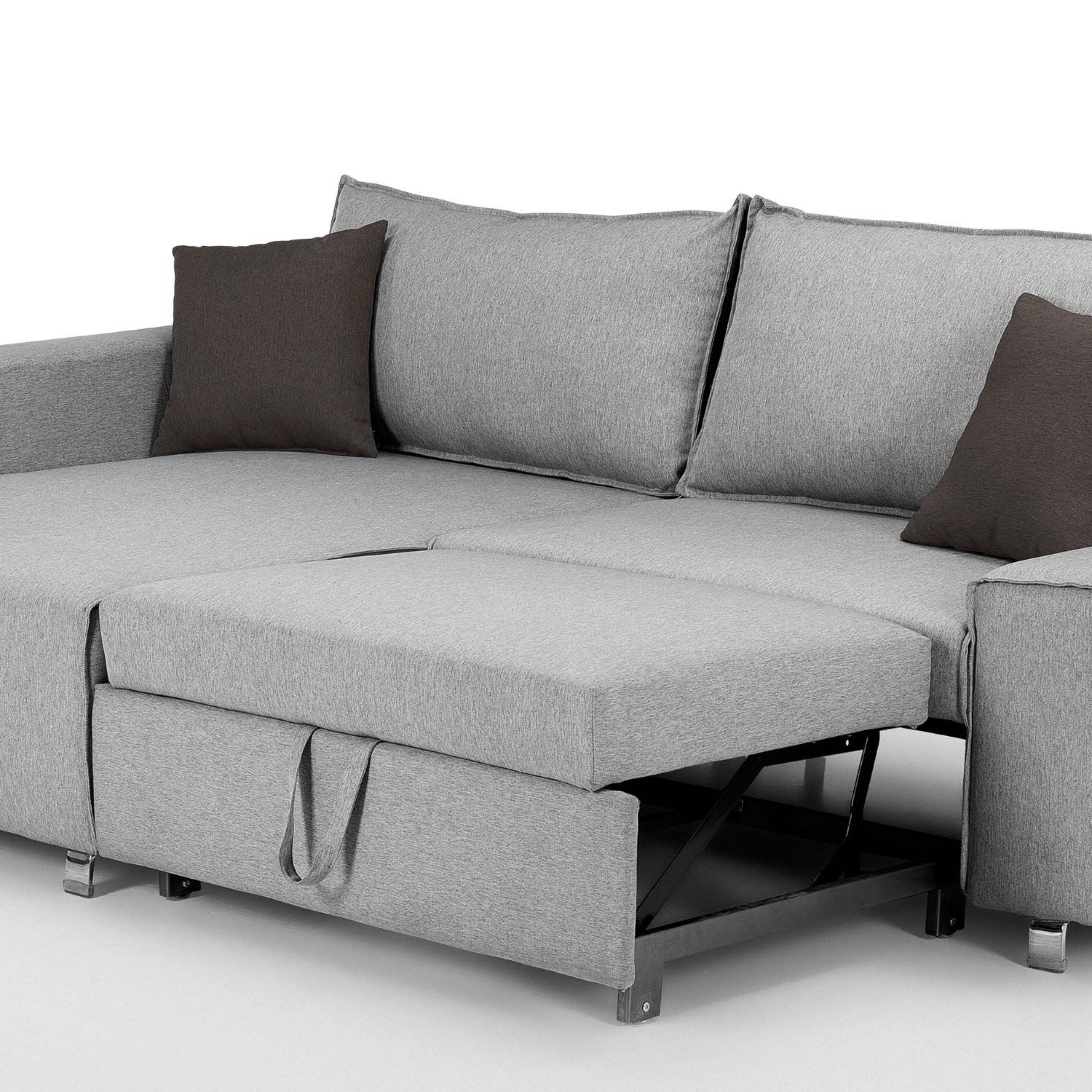 Dulce Right Sectional Sofas Twill Stone With Regard To Recent Mayne Right Hand Facing Corner Sofa Bed, Clear Grey Stone (View 12 of 20)