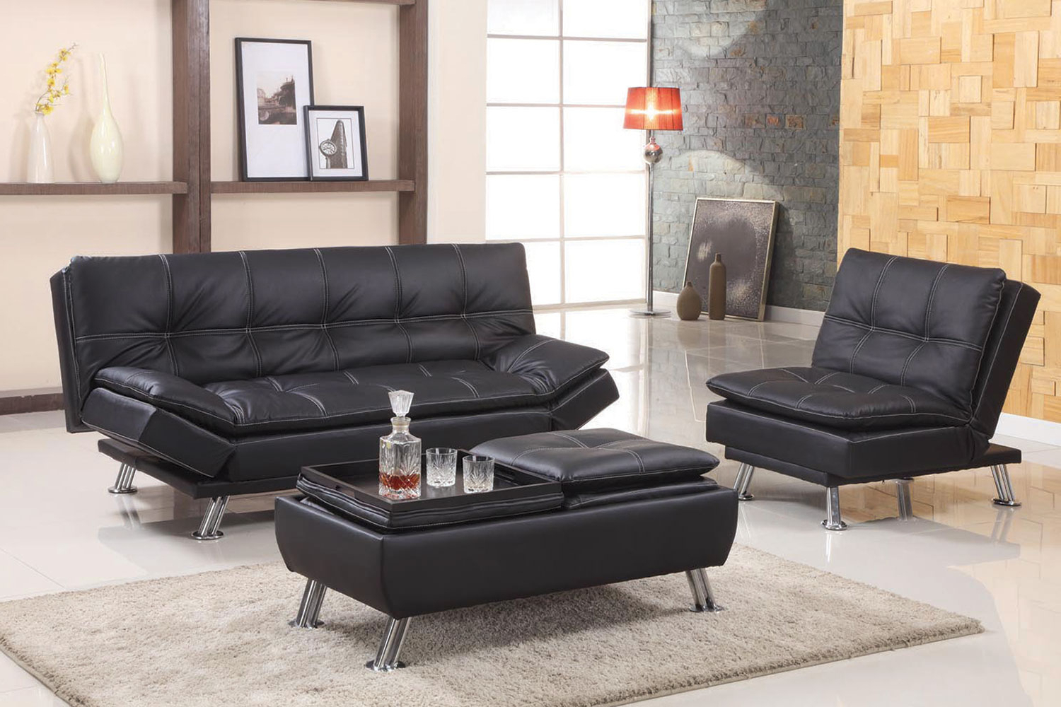 Easton Small Space Sectional Futon Sofas Inside Most Recent Black Or Brown Adjustable Futon Sofa (View 10 of 20)