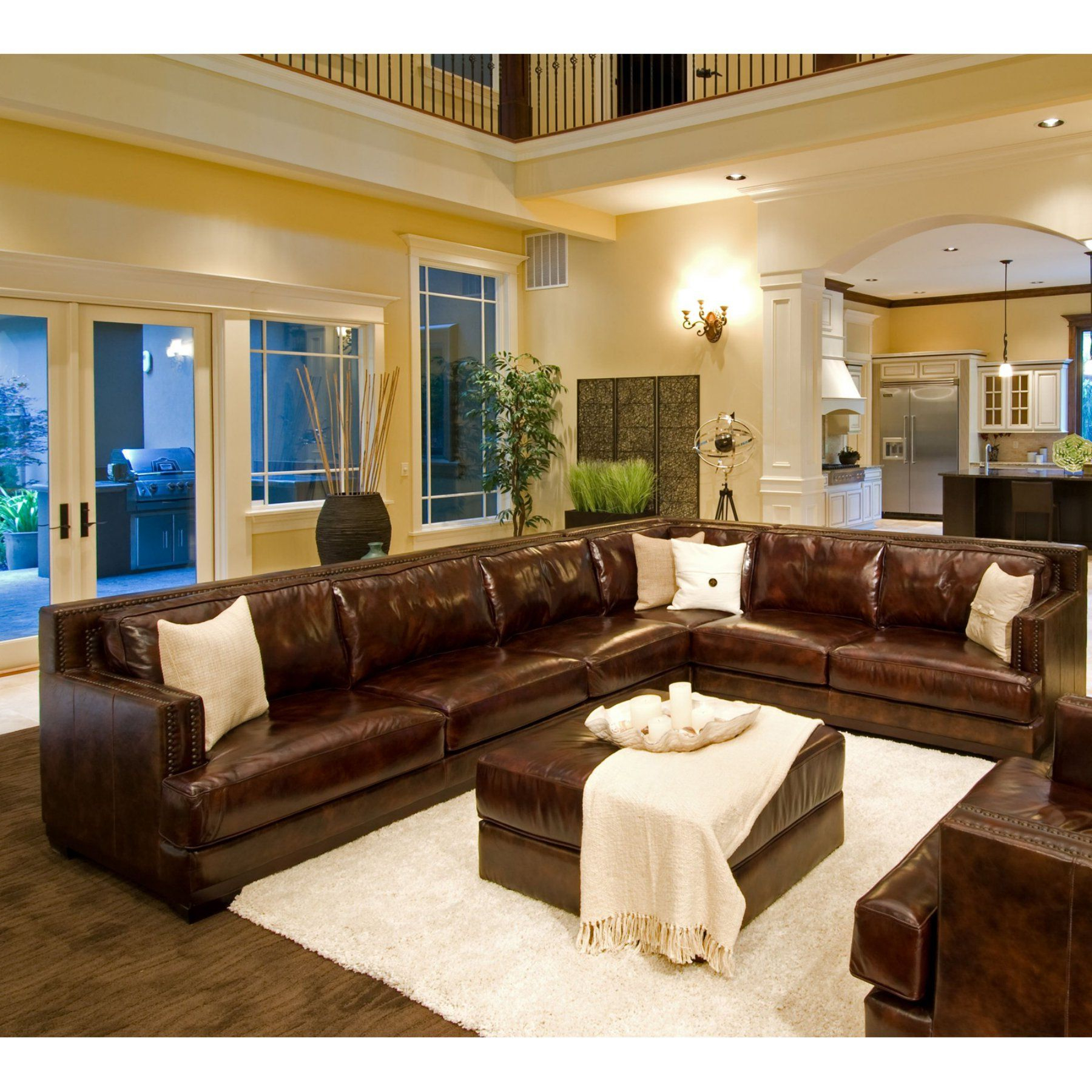 Easton Top Grain Leather Sectional (right Arm Facing Sofa Regarding Widely Used 2pc Maddox Left Arm Facing Sectional Sofas With Chaise Brown (View 19 of 20)