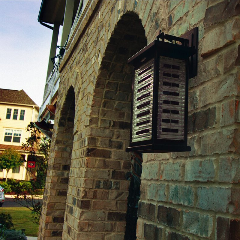 Edenfield Water Glass Outdoor Wall Lanterns With Dusk To Dawn Inside Most Popular Gama Sonic Farmhouse Black  (View 14 of 20)