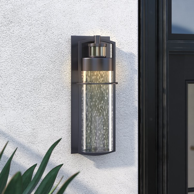 Edenfield Water Glass Outdoor Wall Lanterns With Dusk To Dawn Intended For Well Known Wade Logan® Alanson Carbon Bronze Integrated Led Seeded (View 18 of 20)