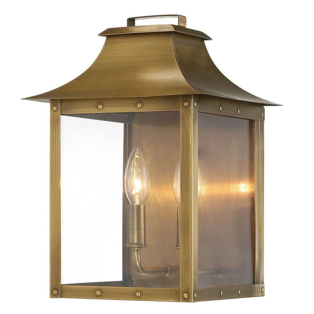 Edinburg Black Outdoor Wall Lanterns Regarding Newest Acclaim Lighting Manchester Collection 2 Light Aged Brass (View 10 of 20)