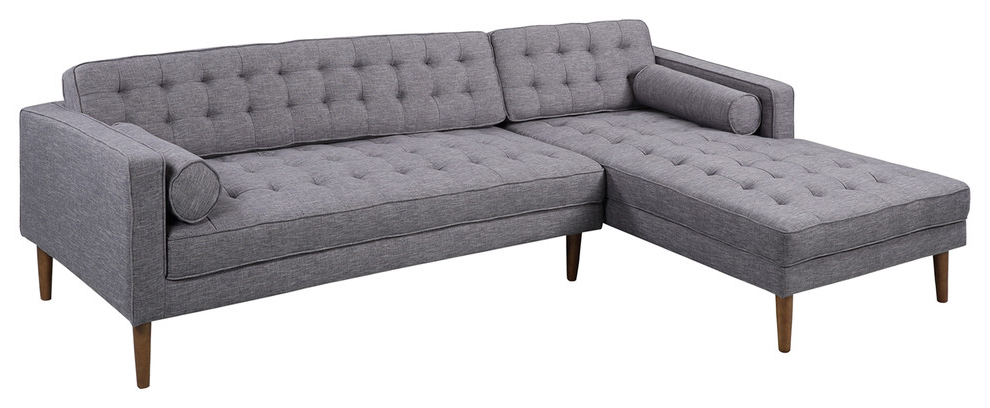 Element Left Side Chaise Sectional, Sectional, Walnut With Regard To Most Recently Released Element Left Side Chaise Sectional Sofas In Dark Gray Linen And Walnut Legs (View 9 of 20)