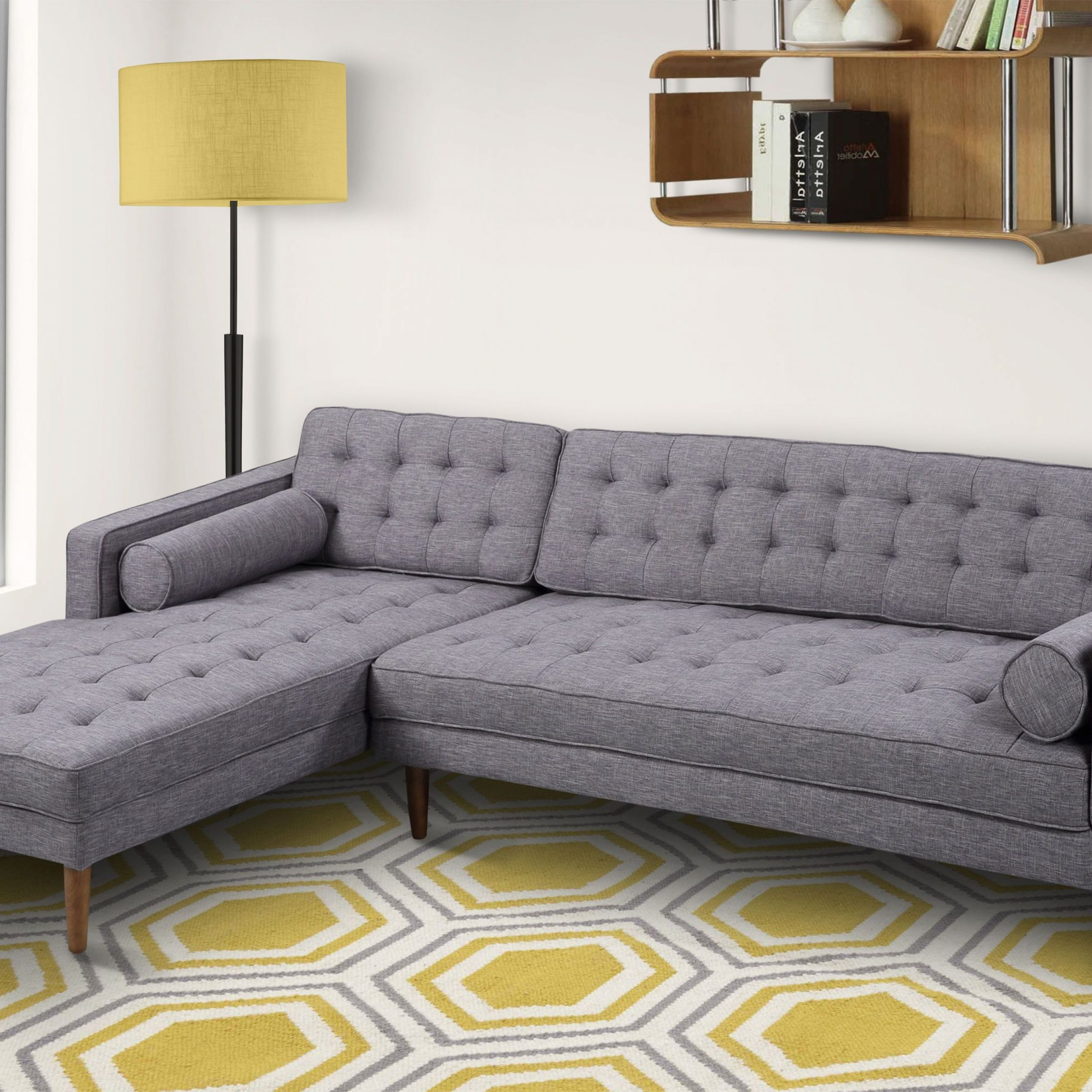 Element Left Side Chaise Sectional Sofas In Dark Gray Linen And Walnut Legs Regarding Fashionable Element Dark Gray Fabric Walnut Wood Legs Right Side (View 1 of 20)