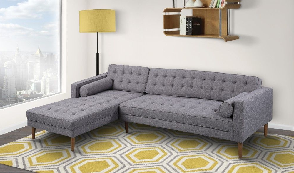Element Left Side Chaise Sectional Sofas In Dark Gray Linen And Walnut Legs With Regard To Latest Element Right Side Chaise Sectional In Dark Gray Linen (View 2 of 20)