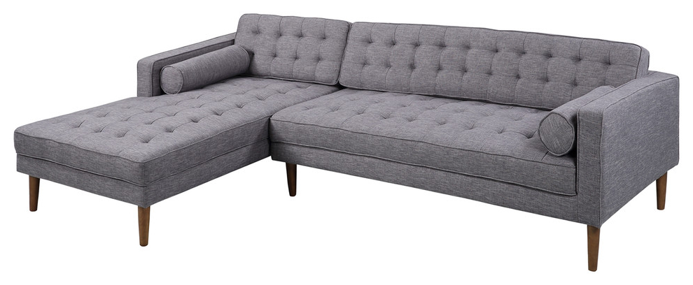 Element Right Side Chaise Sectional Sofas In Dark Gray Linen And Walnut Legs For 2018 Armen Living Element Chaise Sectional, Dark Gray Linen And (View 6 of 20)