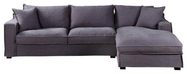 Element Right Side Chaise Sectional Sofas In Dark Gray Linen And Walnut Legs With Regard To Well Known Chill Sectional, Gray – Transitional – Sectional Sofas (View 14 of 20)
