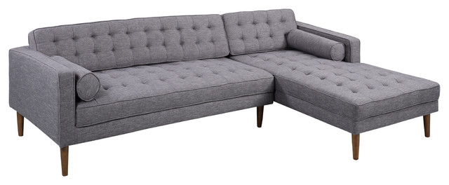 Element Right Side Chaise Sectional Sofas In Dark Gray Linen And Walnut Legs With Regard To Well Known Element Left Side Chaise Sectional – Midcentury (View 10 of 20)