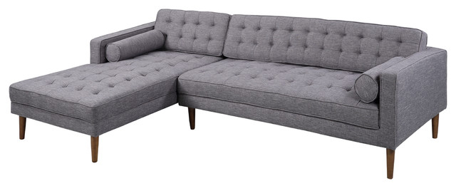 Element Right Side Chaise Sectional Sofas In Dark Gray Linen And Walnut Legs Within 2018 Armen Living Element Chaise Sectional, Dark Gray Linen And (View 3 of 20)