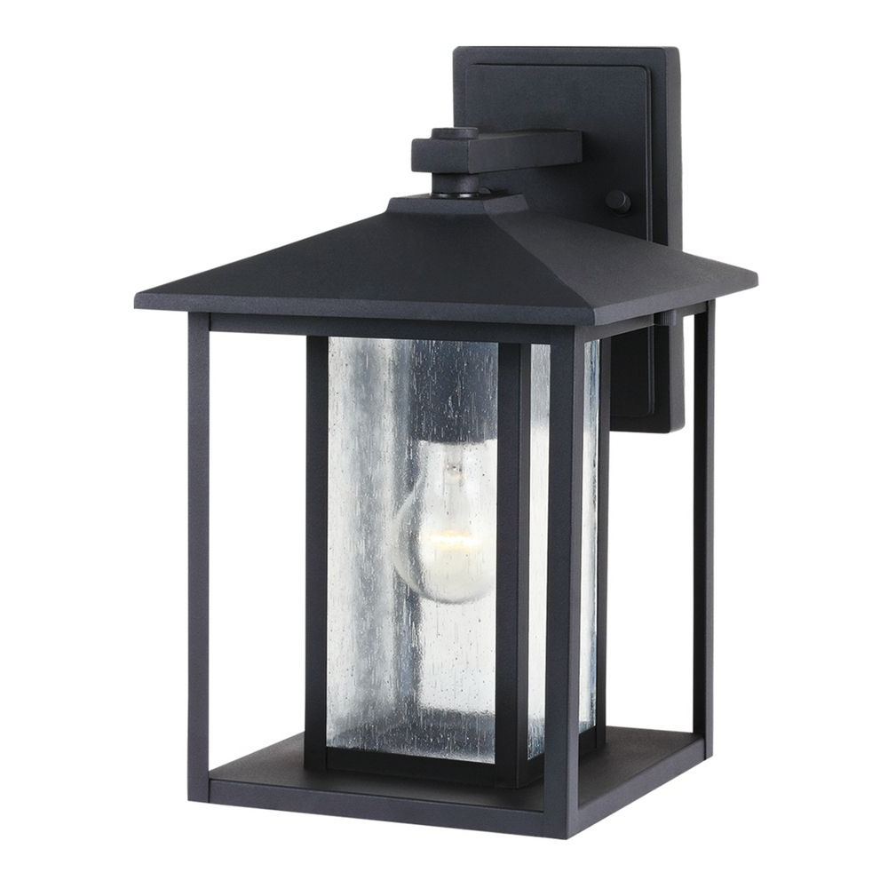 Emaje Black Seeded Glass Outdoor Wall Lanterns Pertaining To Best And Newest Seeded Glass Outdoor Wall Light Black Sea Gull Lighting (View 9 of 20)
