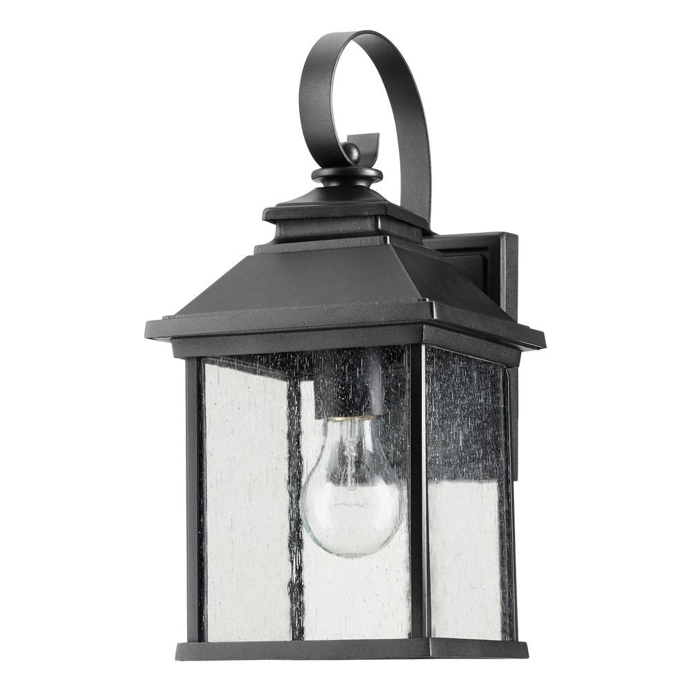 Emaje Black Seeded Glass Outdoor Wall Lanterns Throughout Recent Seeded Glass Outdoor Wall Light Black Quorum Lighting At (View 3 of 20)