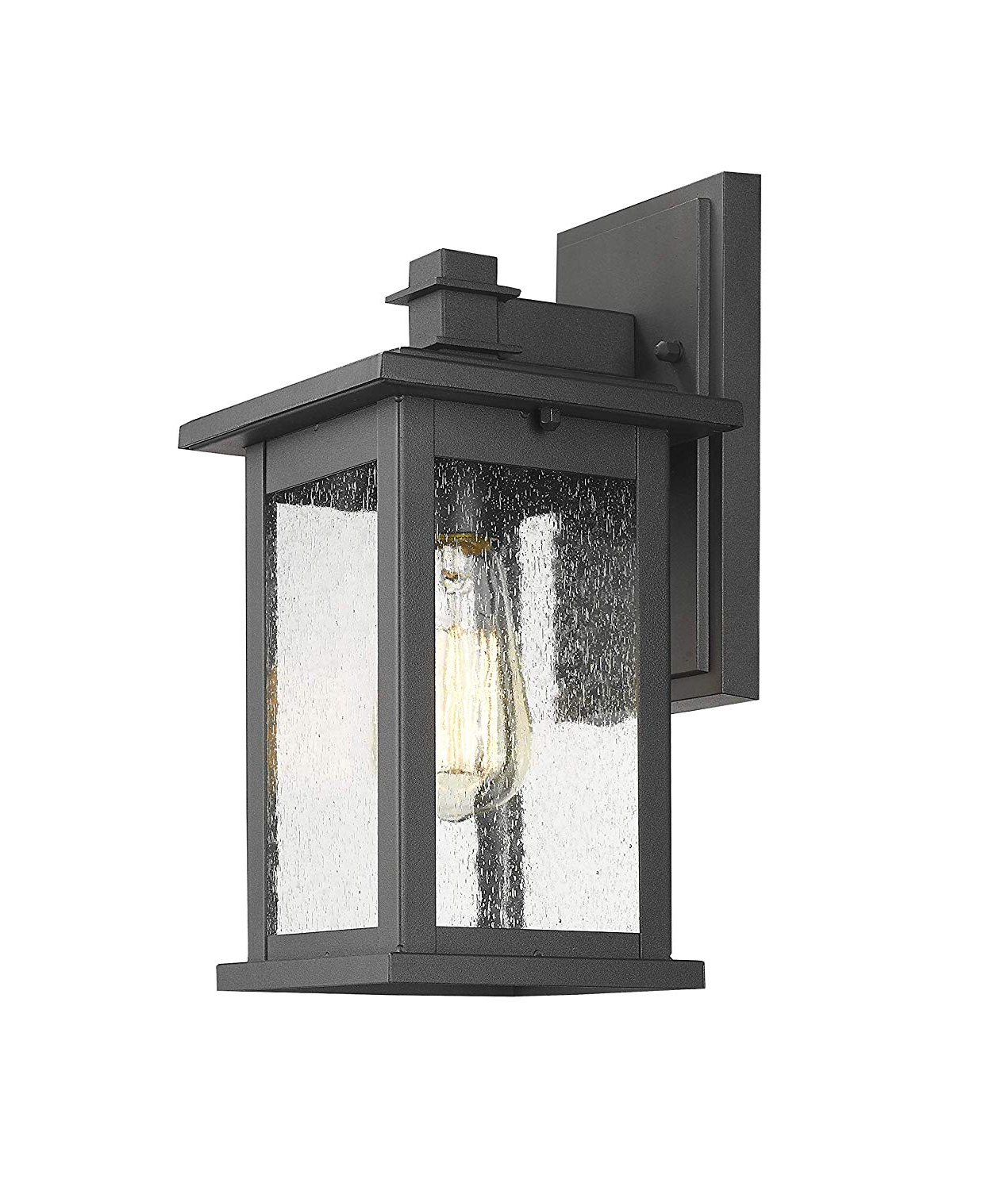 Emaje Black Seeded Glass Outdoor Wall Lanterns With Regard To Most Current Lot Detail – Emliviar Indoor/outdoor Wall Mount Sconce (View 6 of 20)