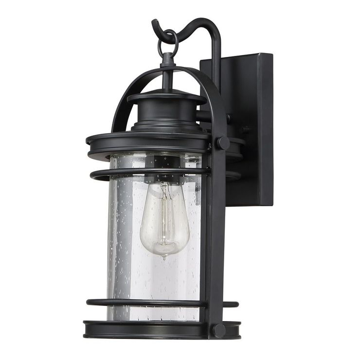 Emaje Black Seeded Glass Outdoor Wall Lanterns Within Widely Used Seeded Glass Outdoor Wall Light Black Quoizel Lighting (View 12 of 20)