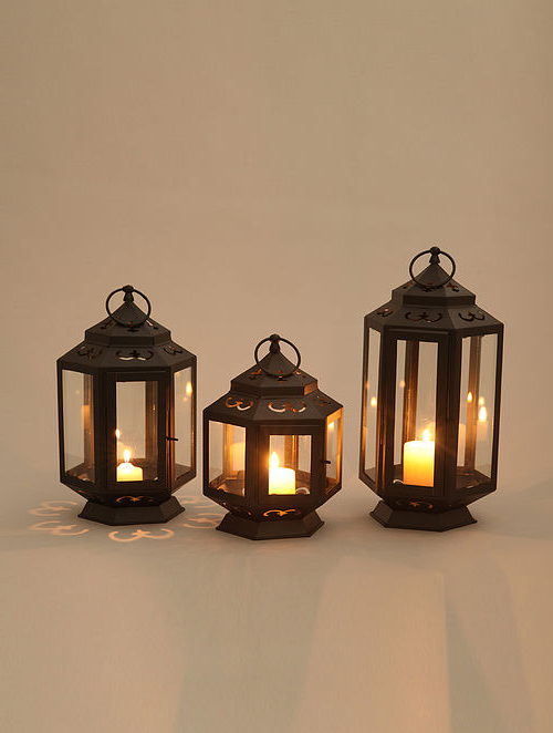 Esquina Powder Coated Black Outdoor Wall Lanterns With 2019 Buy Black Iron Lanterns With Powder Coating (set Of  (View 13 of 20)
