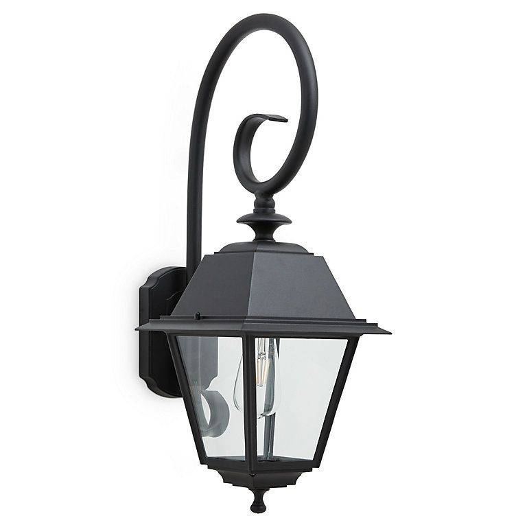 Esquina Powder Coated Black Outdoor Wall Lanterns Within Famous Blooma Newtok Powder Coated Black Mains Outdoor Wall Light (View 8 of 20)