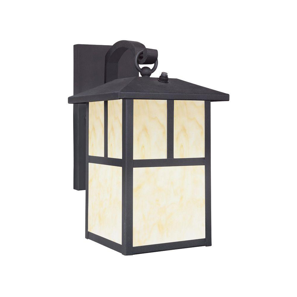 Esquina Powder Coated Black Outdoor Wall Lanterns Within Popular Westinghouse 1 Light Textured Black Steel Outdoor Wall (View 18 of 20)