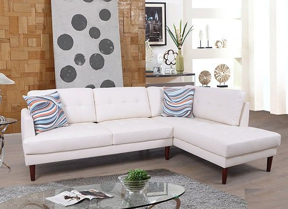 F6007a 2 Pc Lifestyle White Faux Leather Sectional Sofa With Regard To Current 2pc Connel Modern Chaise Sectional Sofas Black (View 8 of 20)