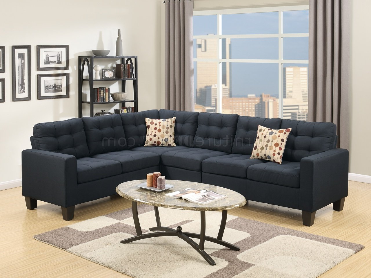 F6937 Sectional Sofa In Black Linen Like Fabricboss Pertaining To Well Known Polyfiber Linen Fabric Sectional Sofas Dark Gray (View 13 of 20)