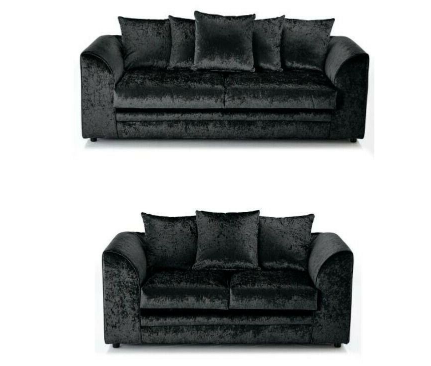 Famous 3pc French Seamed Sectional Sofas Velvet Black With Regard To Brand New Black Crushed Velvet Fabric Corner Sofa Settee (View 16 of 20)