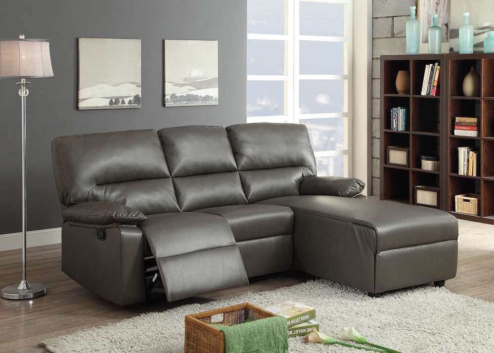 Famous Artha Gray Bonded Leather Motion Sectional Sofa Chaise Regarding Noa Sectional Sofas With Ottoman Gray (View 3 of 20)