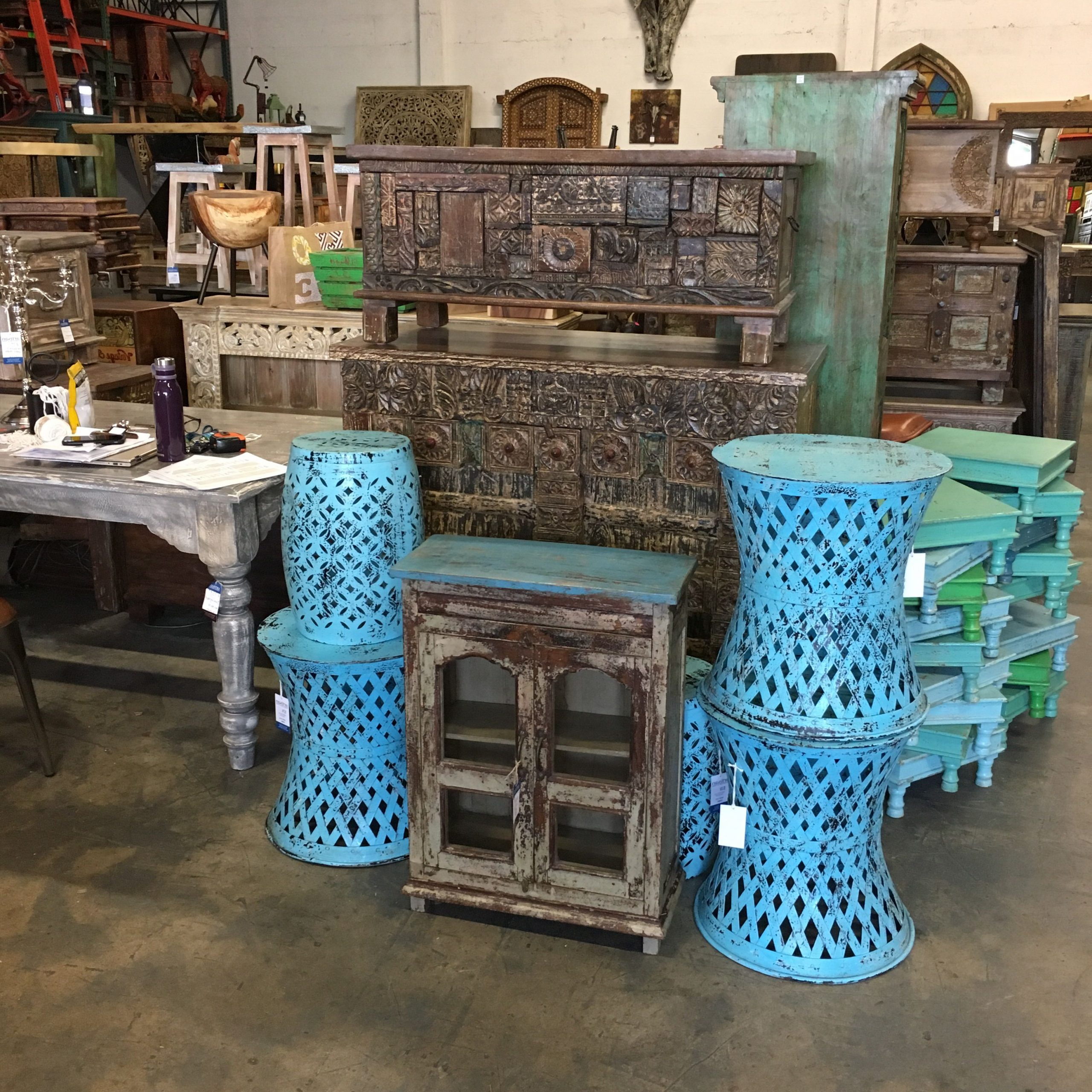 Famous Blue Accents Tables And Reclaimed Cabinets (View 6 of 20)