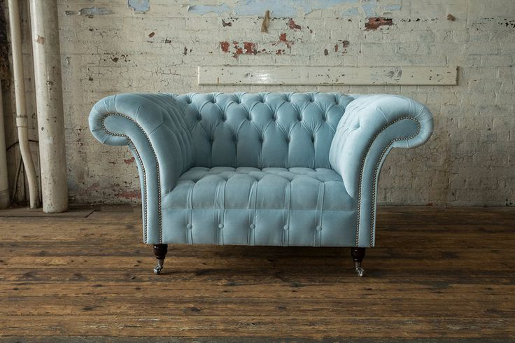 Famous Brayson Chaise Sectional Sofas Dusty Blue Pertaining To British Handmade Vintage Dusty Blue Velvet Chesterfield (View 7 of 20)