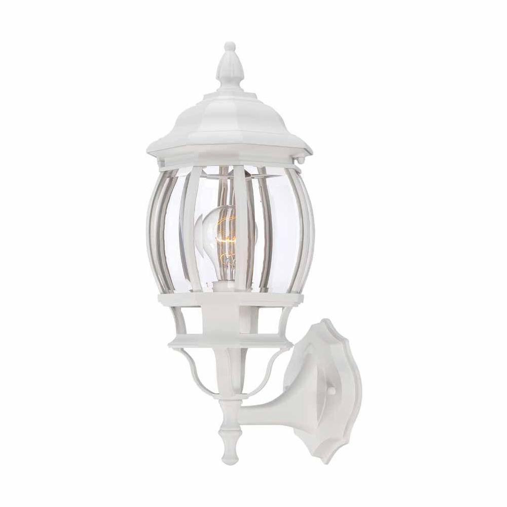 Famous Clarence Black Outdoor Wall Lanterns With Regard To Hampton Bay 1 Light White Outdoor Wall Lantern Hb7027  (View 16 of 20)