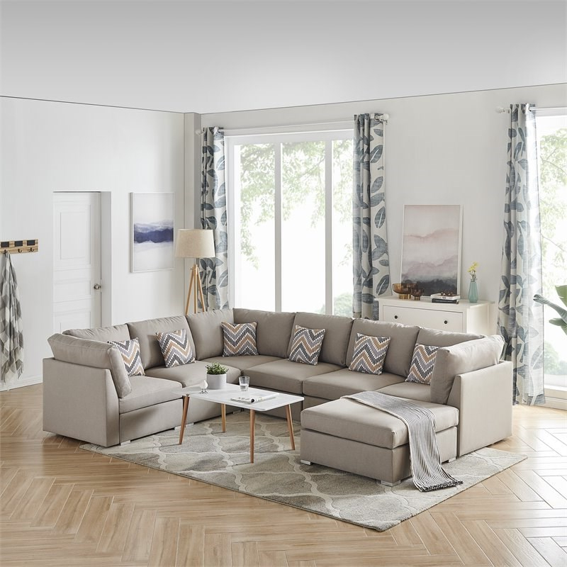 Famous Clifton Reversible Sectional Sofas With Pillows Throughout Amira Beige Fabric Reversible Modular Sectional Sofa With (View 17 of 20)