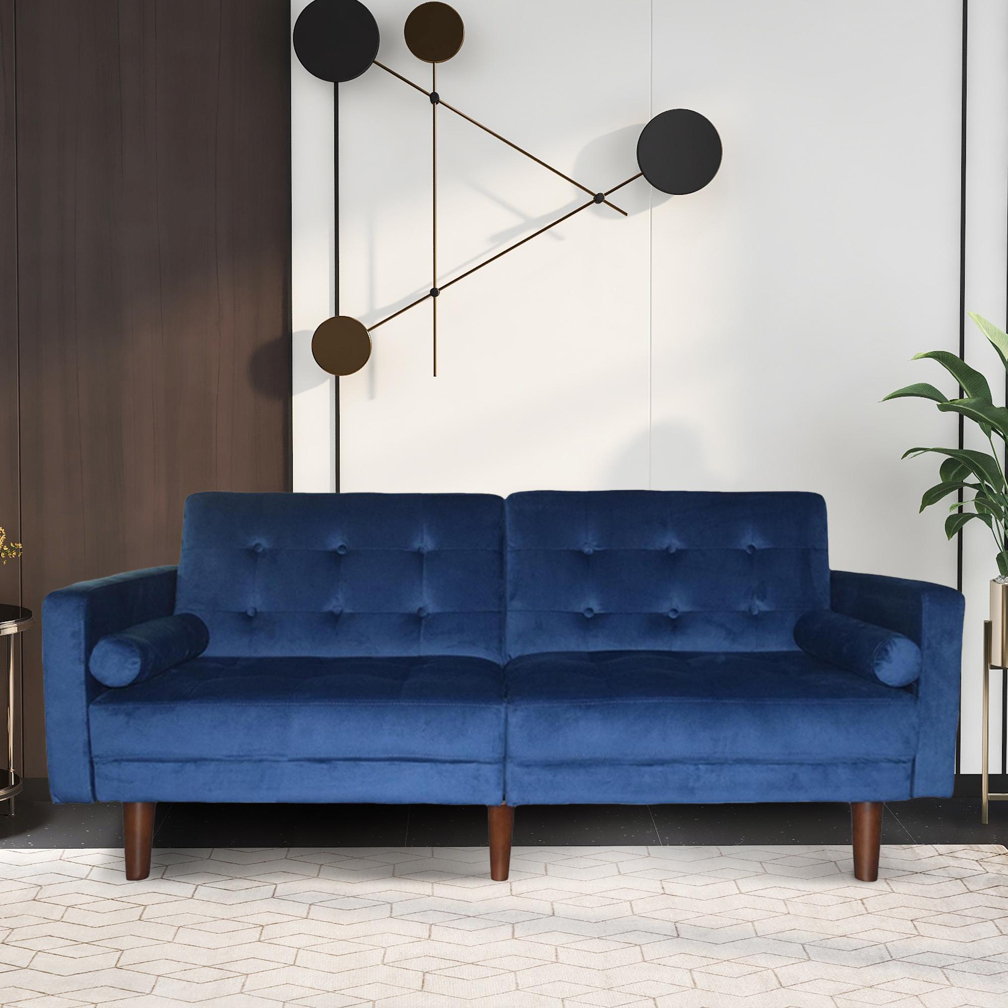 Famous Dove Mid Century Sectional Sofas Dark Blue For Blue Sofa Bed, Mid Century Modern Velvet Upholstered (View 2 of 20)