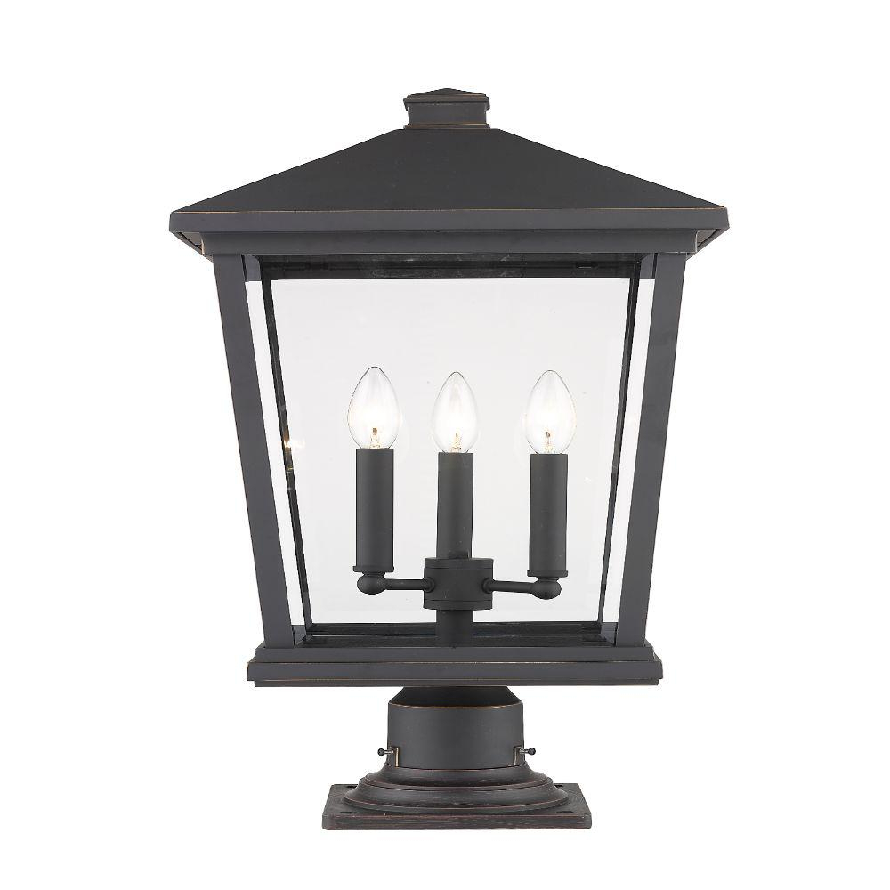 Famous Filament Design 3 Light Oil Rubbed Bronze Outdoor Pier With Verne Oil Rubbed Bronze Beveled Glass Outdoor Wall Lanterns (View 7 of 20)