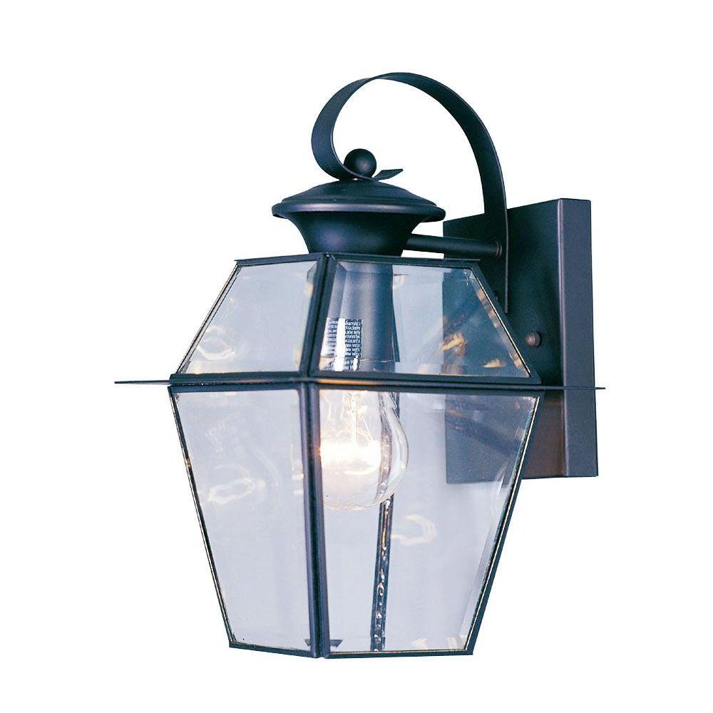 Famous Gillett Outdoor Wall Lanterns Inside Livex Lighting 1 Light Black Outdoor Wall Lantern With (View 5 of 20)