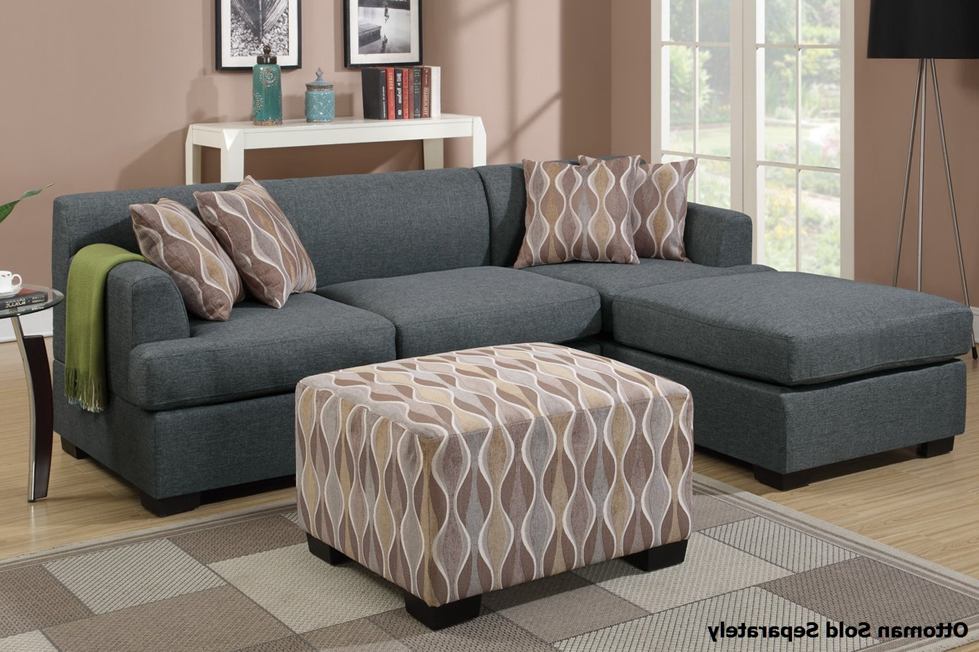 Famous Grey Fabric Sectional Sofa – Steal A Sofa Furniture Outlet With Noa Sectional Sofas With Ottoman Gray (View 8 of 20)