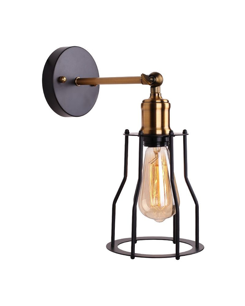 Famous Keikilani Matte Black Wall Lighting In Rustic Style Matte Black Wall Sconce With Iron Cage (View 14 of 20)