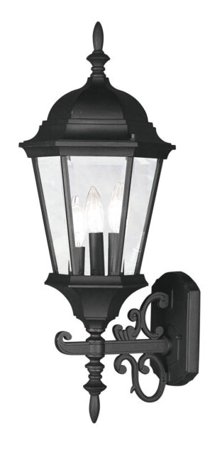 Famous Livex Hamilton 3 Light 24 Inch Black Outdoor Wall Lantern With Roden Black 3 Bulb Outdoor Wall Lanterns (View 2 of 20)