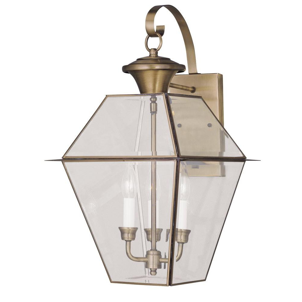 Famous Livex Lighting 3 Light Antique Brass Outdoor Wall Lantern Pertaining To Payeur Hammered Glass Outdoor Wall Lanterns (View 7 of 20)