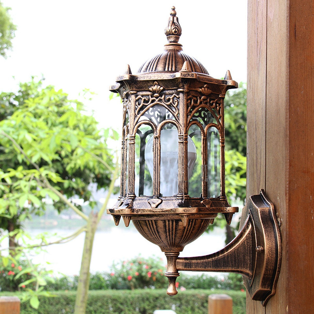 Famous Outdoor Bronze Antique Exterior Wall Light Fixture In Bayou Beveled Glass Outdoor Wall Lanterns (View 11 of 20)