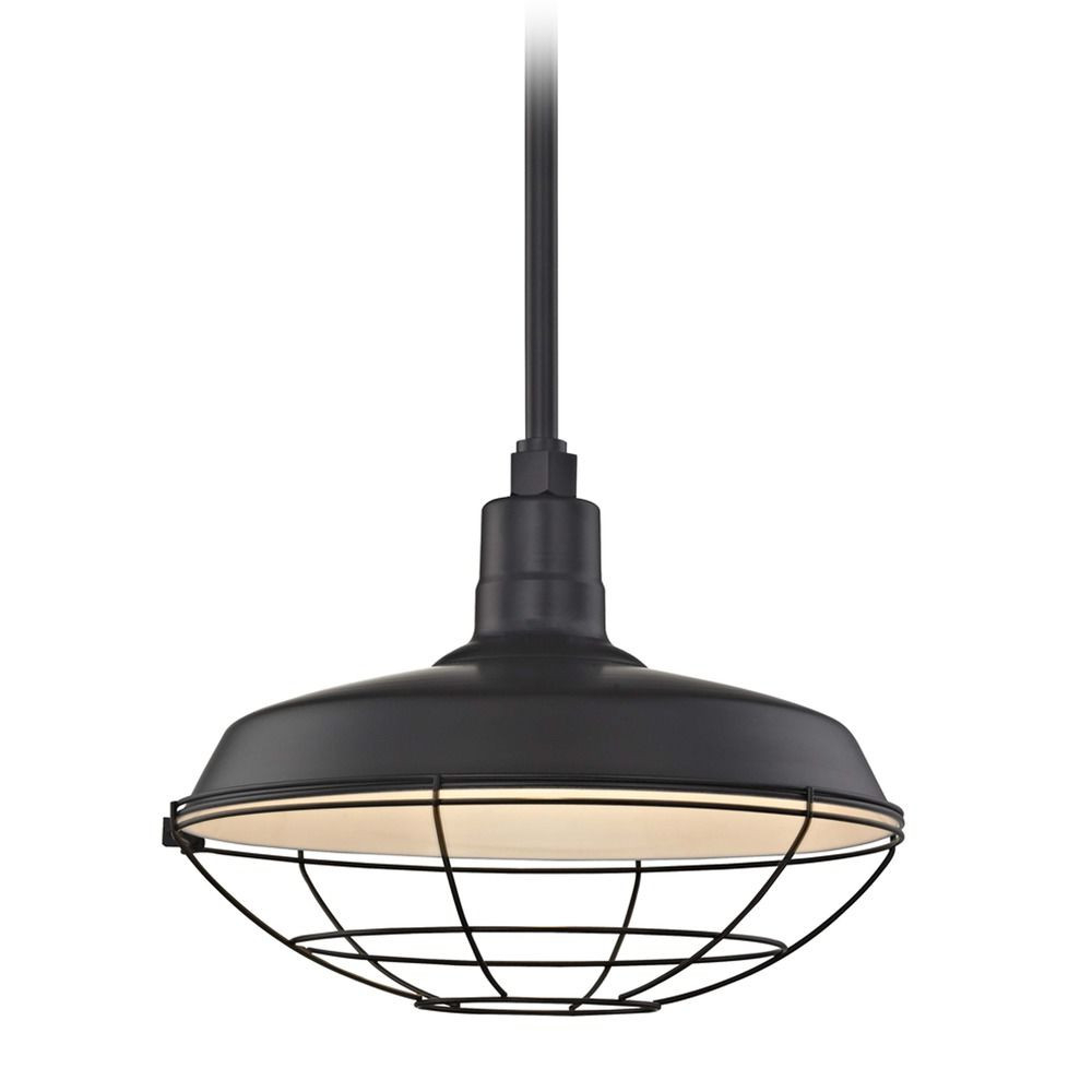 Famous Recesso Black Barn Pendant Light With 16 Inch Rlm Cage Shade Pertaining To Rickey Black Outdoor Barn Lights (View 18 of 20)