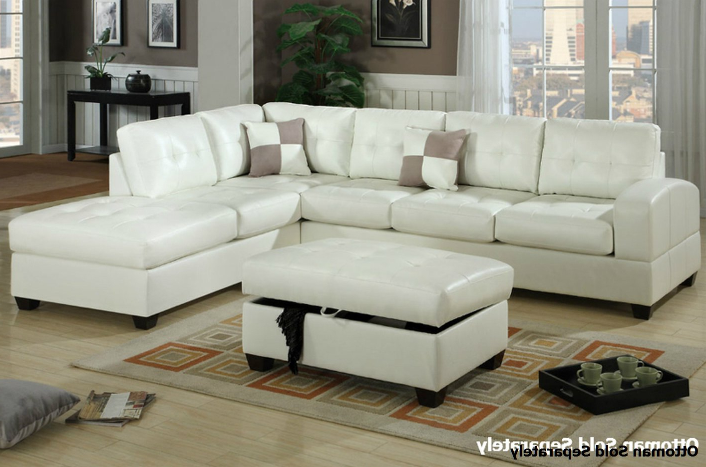 Famous Sectional Sofas In White Inside Poundex Reese F7359 White Leather Sectional Sofa – Steal A (View 5 of 20)
