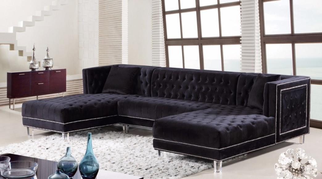 Fashionable 3pc French Seamed Sectional Sofas Velvet Black For Moda Black Velvet 3pc (View 3 of 20)