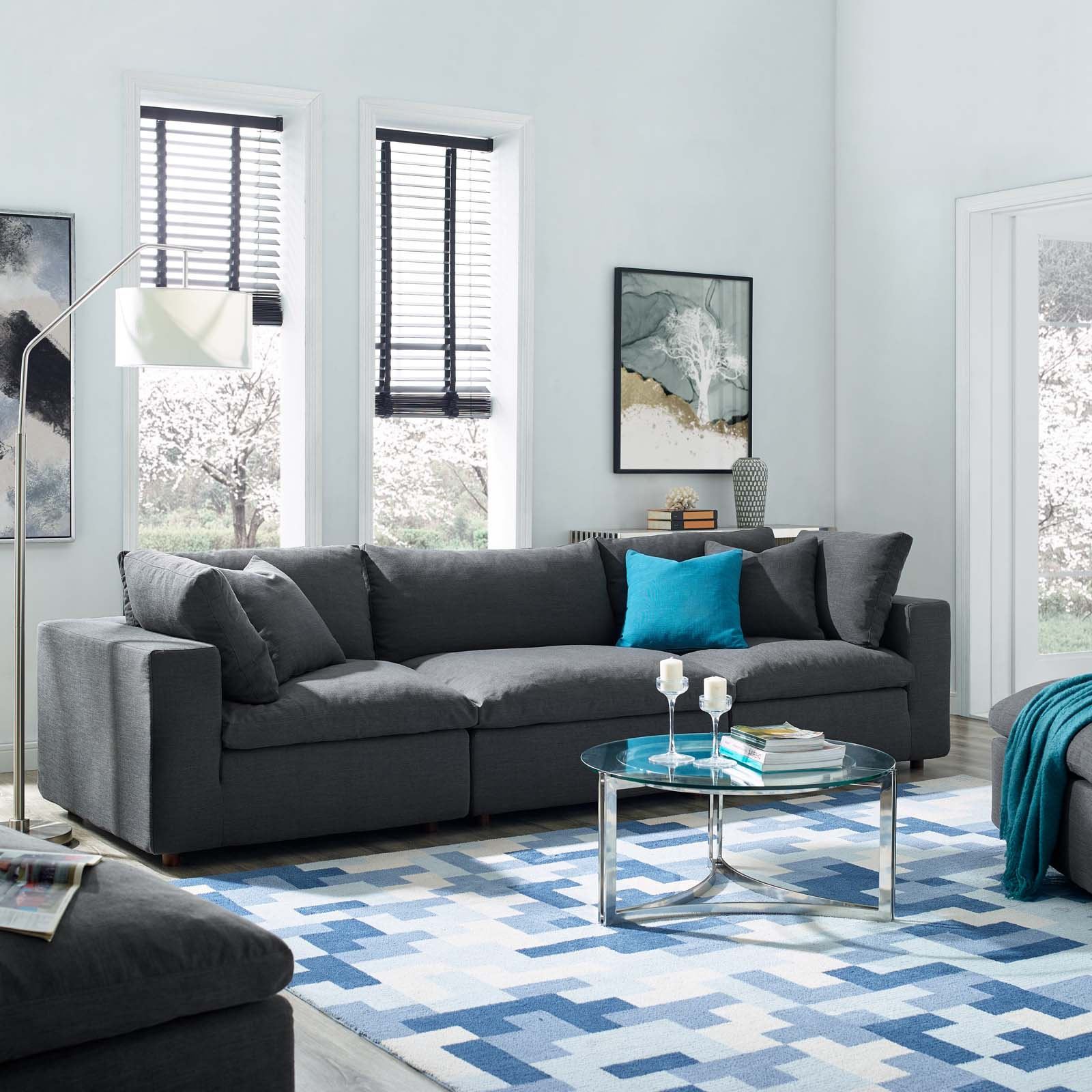 Fashionable 3pc Polyfiber Sectional Sofas With Commix Down Filled Overstuffed 3 Piece Sectional Sofa Set (View 13 of 20)