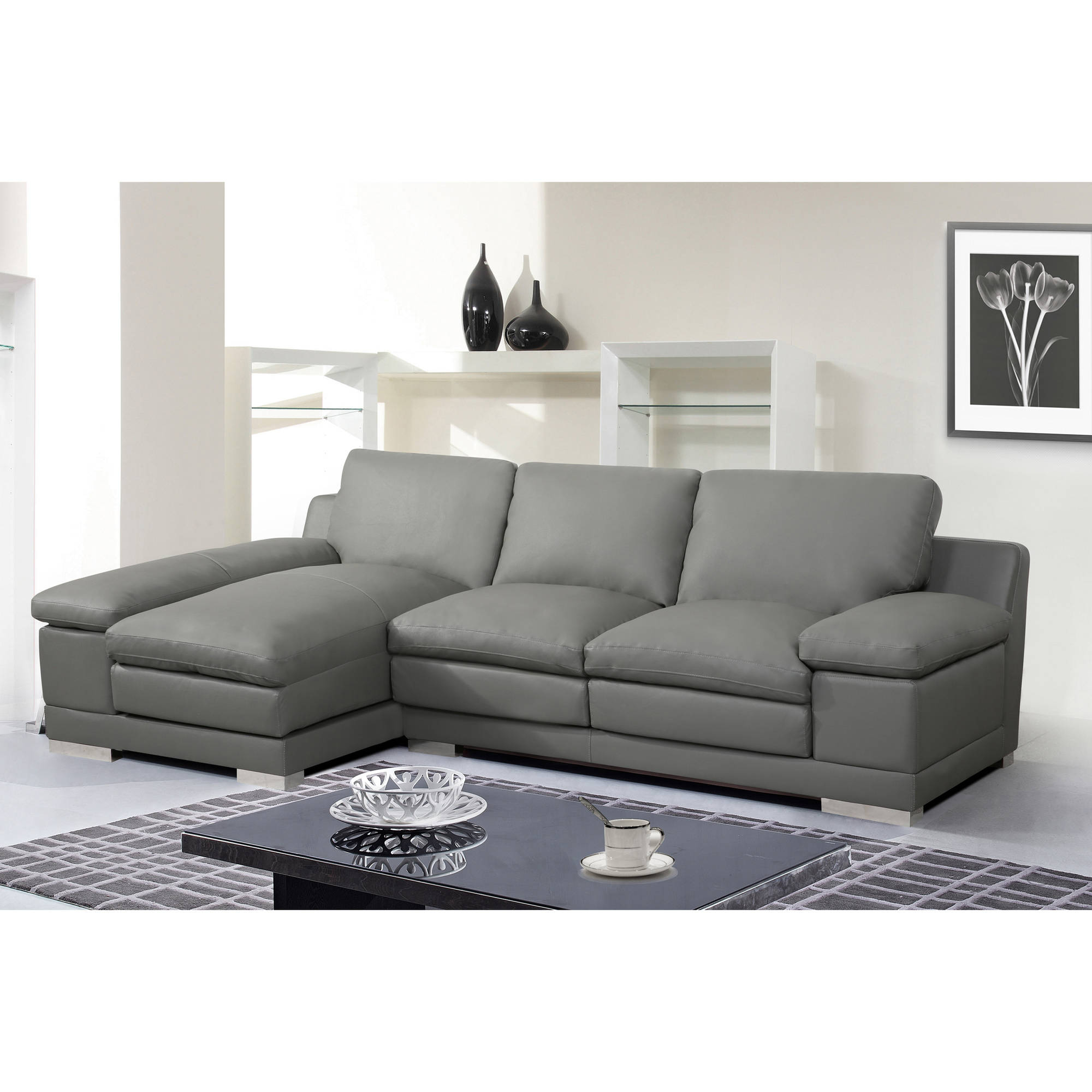 Fashionable Adrian Contemporary Bonded Leather Right Facing 2 Piece Regarding Florence Mid Century Modern Right Sectional Sofas Cognac Tan (View 1 of 20)