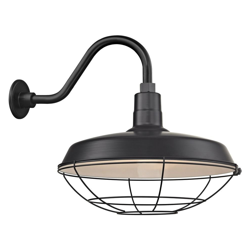 Fashionable Barn Light Outdoor Wall Light Black With Gooseneck Arm 18 Within Lainey Outdoor Barn Lights (View 3 of 20)