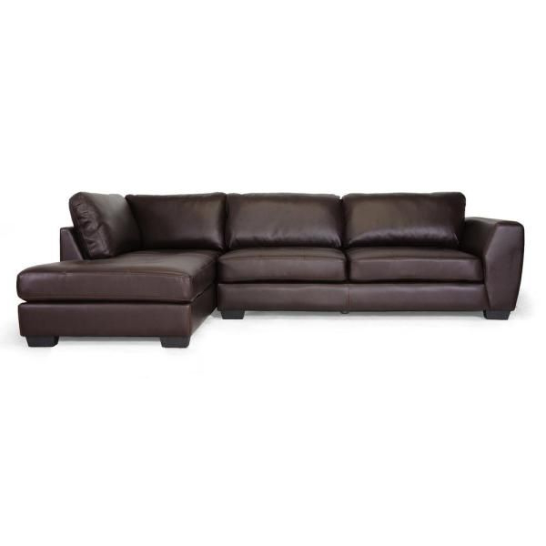 Fashionable Baxton Studio Orland 2 Piece Brown Faux Leather 4 Seater L Regarding 2pc Burland Contemporary Chaise Sectional Sofas (View 16 of 20)