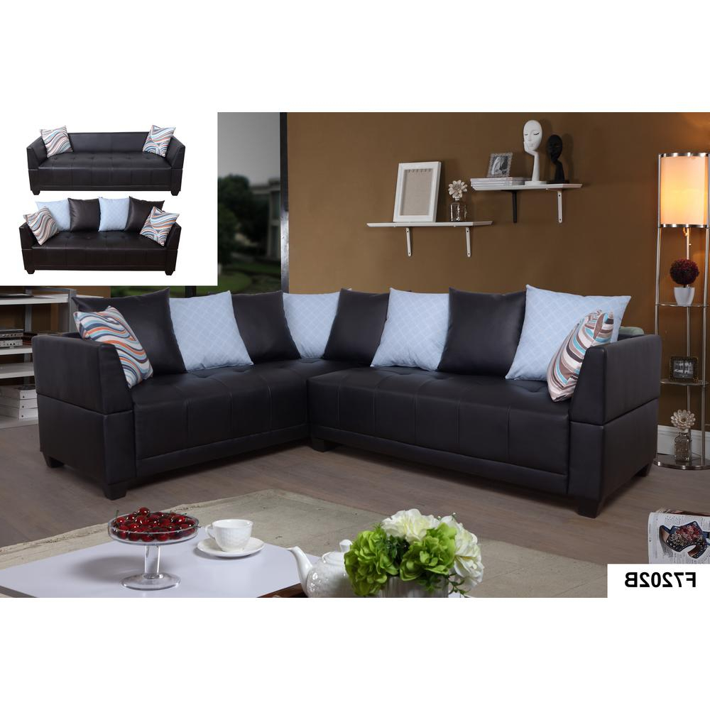 Fashionable Brown Faux Leather Left Sectional Sofa Set (2 Piece For 3pc Faux Leather Sectional Sofas Brown (View 9 of 20)