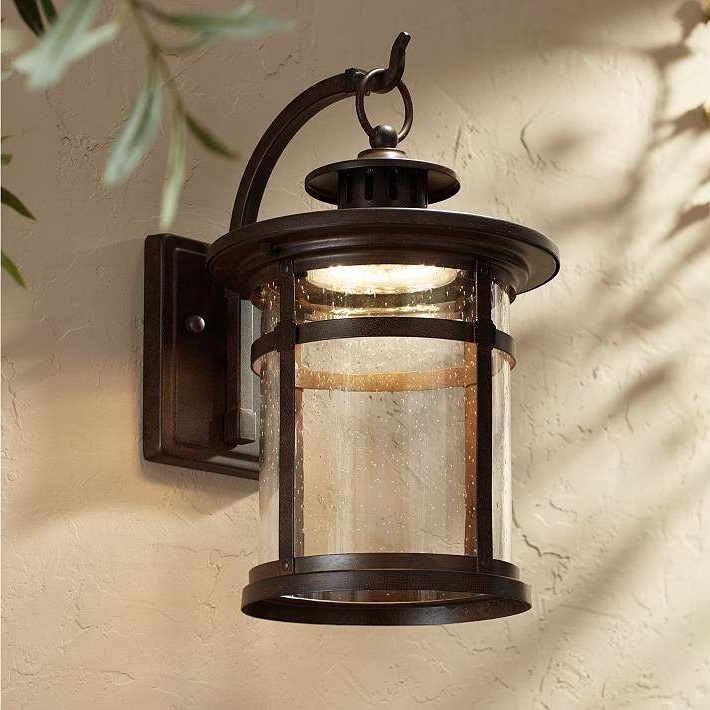"""Fashionable Callaway 14 1/2"""" High Bronze Led Outdoor Wall Light Within Chicopee 2 – Bulb Glass Outdoor Wall Lanterns (View 2 of 20)"""