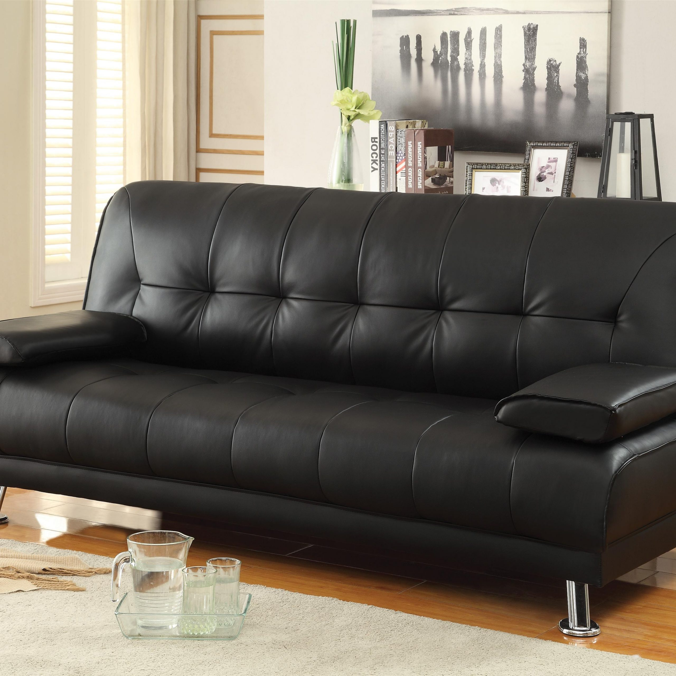 Fashionable Celine Sectional Futon Sofas With Storage Reclining Couch With Regard To Sofa Beds And Futons Faux Leather Convertible Sofa Bed (View 7 of 20)