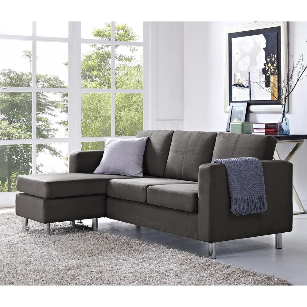 Fashionable Dorel Small Spaces 2 Piece Configurable Gray Sectional With Palisades Reversible Small Space Sectional Sofas With Storage (View 2 of 20)
